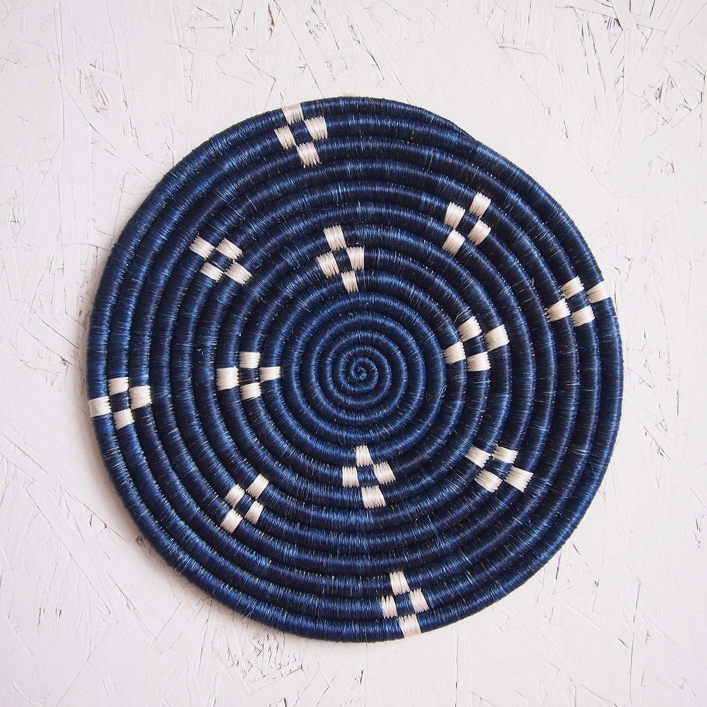 African Woven Trivet White Kabaya//Rwanda Trivet//Sisal /& Sweetgrass//Blue