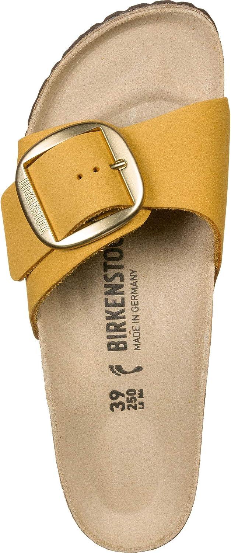 Birkenstock Mules Madrid Big Buckle Cuir Nubuck Ocre, Sandale Femme Jaune