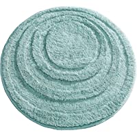 mDesign Soft Microfiber Polyester Non-Slip Round Spa Mat, Plush Water Absorbent Accent Rug for Bathroom Vanity, Bathtub…