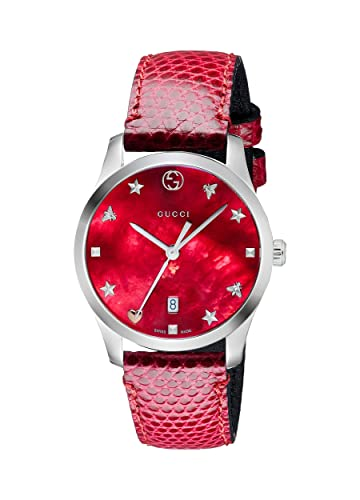 9002d7da671 Gucci Womens Analogue Classic Quartz Watch with Leather Strap YA126584   Gucci  Amazon.co.uk  Watches