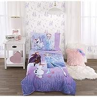 Disney Frozen 2 Lavender, Light Blue & Purple Forest Spirit 4Piece Toddler Bed Set - Comforter, Fitted Bottom Sheet, Flat Top Sheet, Reversible Pillowcase, Lavender, Light Blue, Purple, White