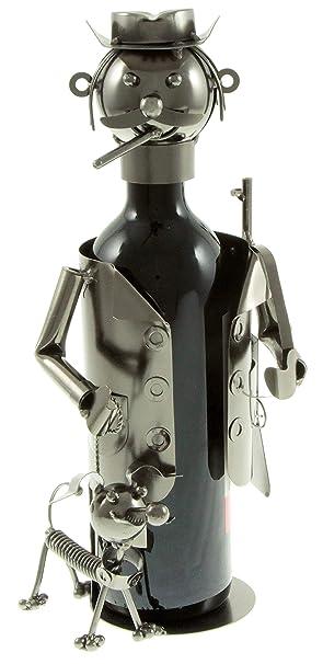 Flaschenhalter J/ÄGER MIT HUND aus Metall