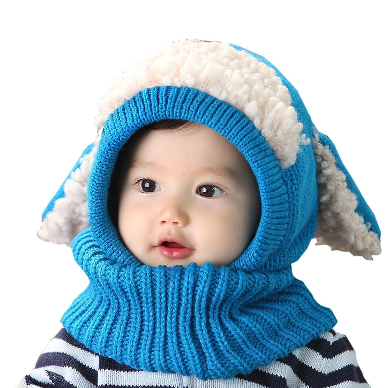WSLCN Unisex Baby Jungen Mädchen Hüte mit Halstücher Strickhut Pudelmütze Süß Mütze Kontrastfarbe Winter Warm Schal Cartoon Hundohren MZ0423-D