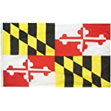 Maryland State Flag 3x5 ft. Nylon SolarGuard Nyl-Glo 100% Made in USA to Official State Design Specifications by Annin Flagmakers.  Model 142360