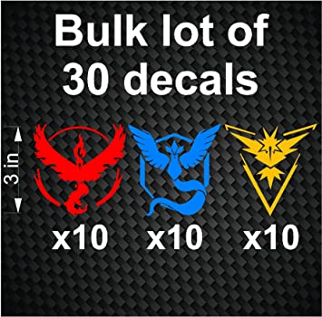 Bulk lot 30 pokemon go vinyl decals stickers team valor mystic instinct decal