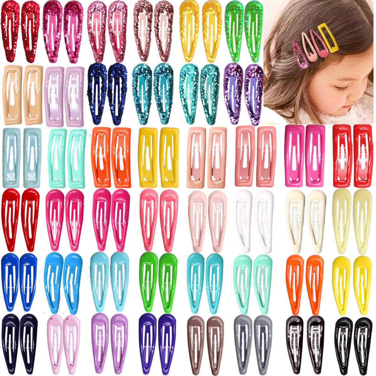 "126pcs//Lot 2/"" Boutique Girl Baby Kid Metal Hair Clips Snap Barrette Hairpin Grip"