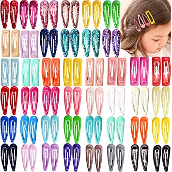 100Pcs 2 Inch Candy Color Solid No Slip Hair Clips Kids Girls/' Hairpin Barrettes