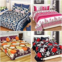 Akshya Super Home Combo Set Of 4 Glace Cotton Double Bedsheet With Pillow Covers