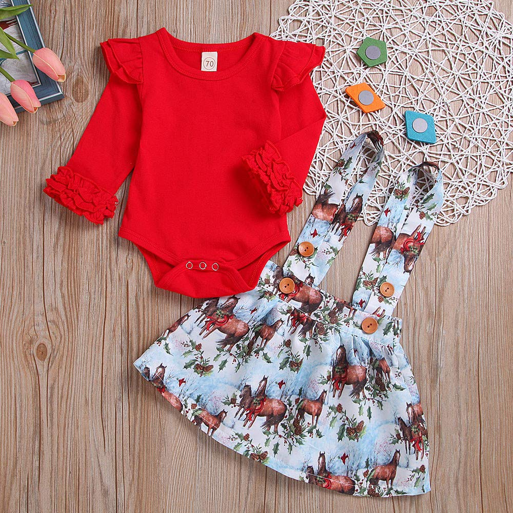 KONFA Toddler Newborn Baby Girls Christmas Clothes,Ruffles Romper+Suspenders Skirt 2Pcs Outfits Sets