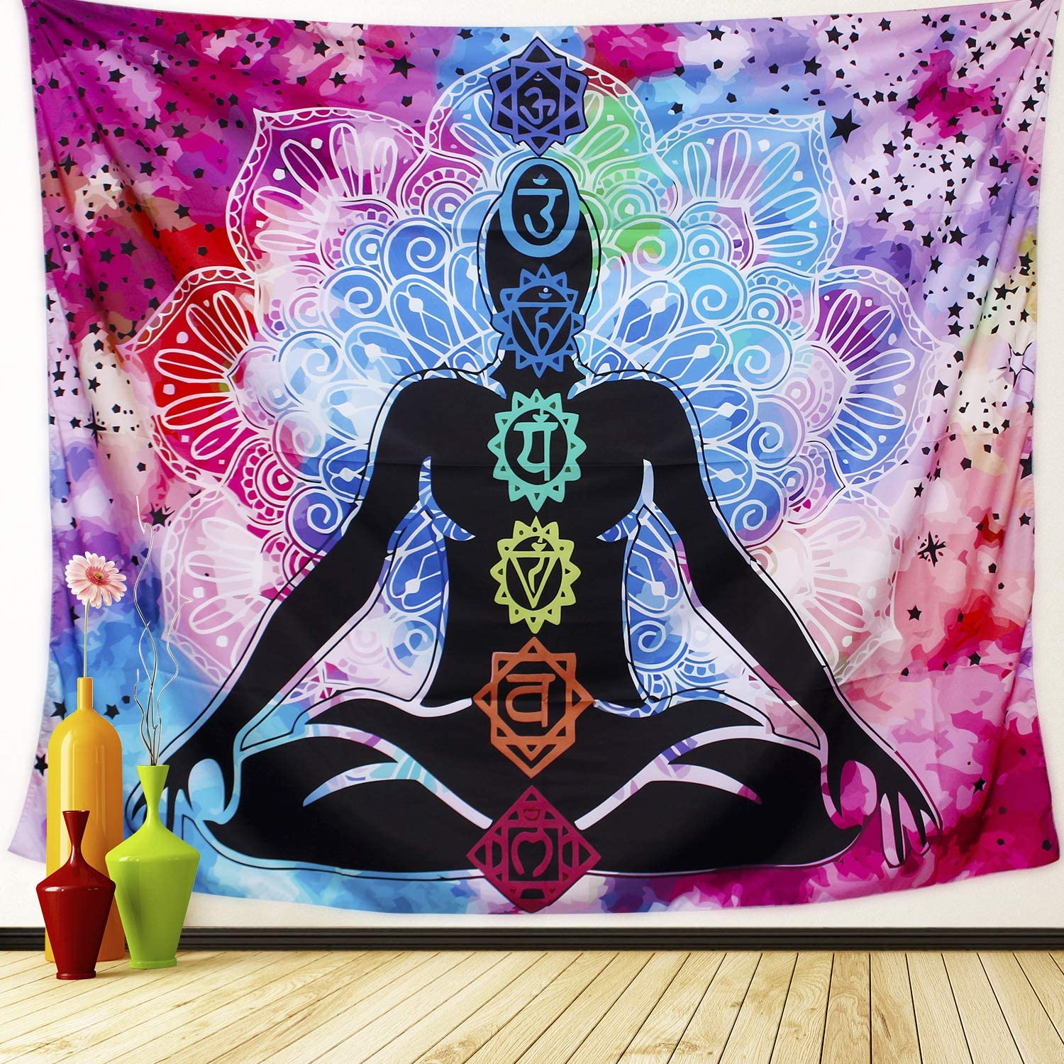 Amazon Com Anwiner Seven Chakra Tapestry Yoga Meditation Tapestry Colorful Mandala Wall Tapestry Bohemian Hippie Tapestry For Studio Living Room Bedroom Dorm Room 59x 51 Inches Everything Else