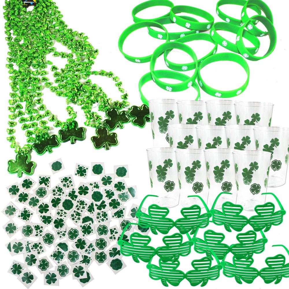 Joyin Toy 108 Pieces St. Patrick's Day Party Favor Set 6 Irish Shamrock Beads Necklaces; 6 St. Patrick Shutter Shades Glasses; 12 St. Patrick's Day Disposable Cups with Shamrocks; 12 Rubber Shamrock Bracelets; 72 Pieces St. Patrick's Day Temporary Tattoos