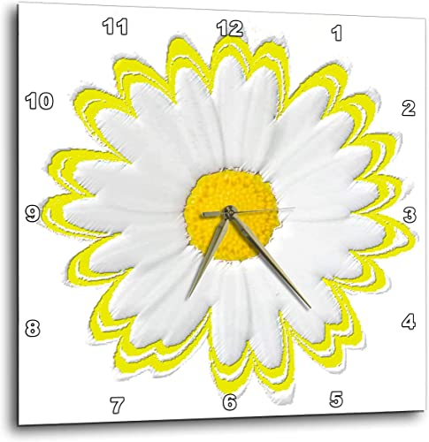 3dRose dpp_38798_2 Yellow and White Daisy-Wall Clock, 13 by 13-Inch