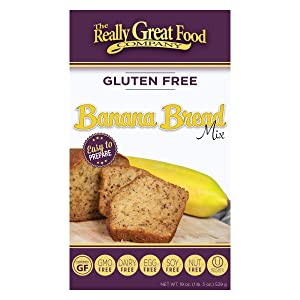 Really Great Food Company – Gluten Free Banana Bread Mix – Large 19 ounce box - No Nuts, Soy, Dairy, Eggs - Vegan, Kosher, Non-GMO and Plant Based