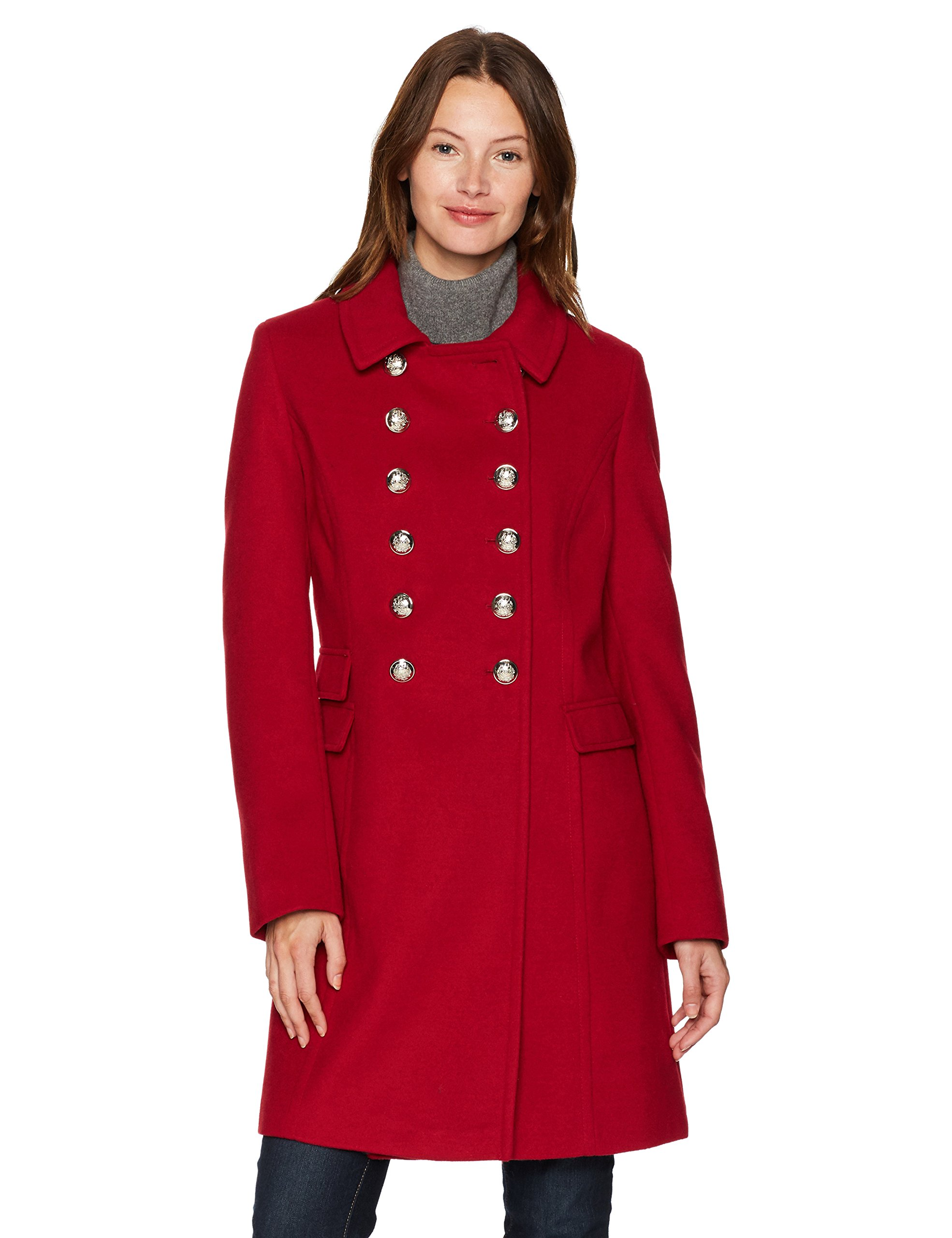 Tommy Hilfiger Women's Wool Blend Military Button Coat, Red, Large