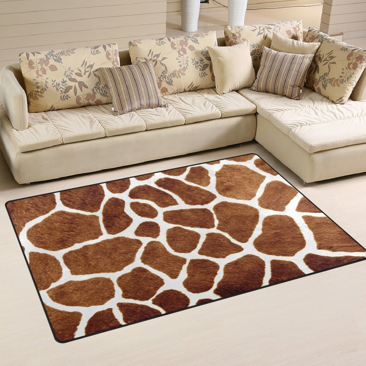 WOZO Giraffe Spot Animal Skin Area Rug Rugs Non-Slip Floor Mat Doormats Living Room Bedroom 60 x 39 inches