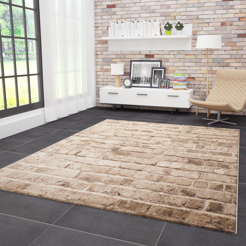 VIMODA Moderner Designer Teppich Stein Optik Mauer Muster Strapazierfähig in Braun 160x230 cm