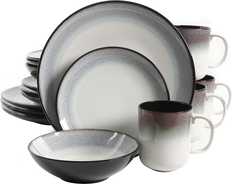 | Gibson Elite Rings of Saturn Round Reactive Glaze Stoneware Dinnerware Set, Service for Four (16pcs), Teal Blue: Dinnerware Sets