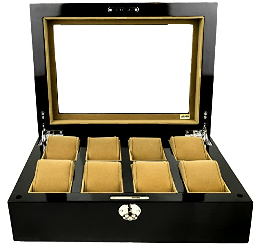 cce200366c8 adorini Watch Box Deluxe - Display Case for 8 Watches