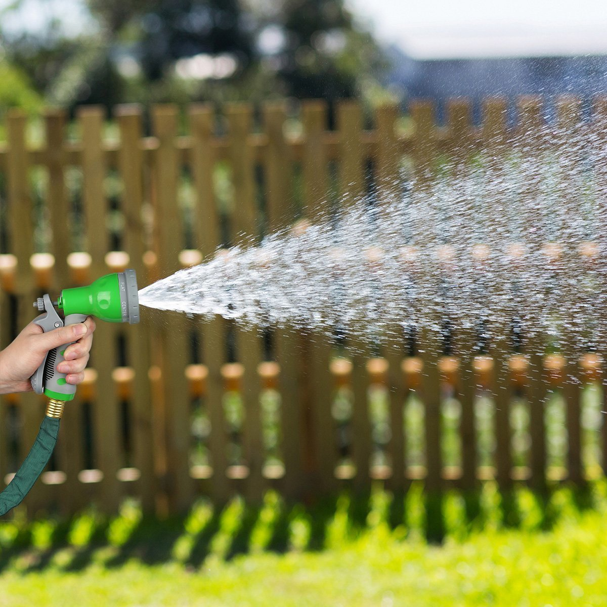 Amazon.com: 1byone Flat Garden Hose with 7 Function Spray Nozzle and ...