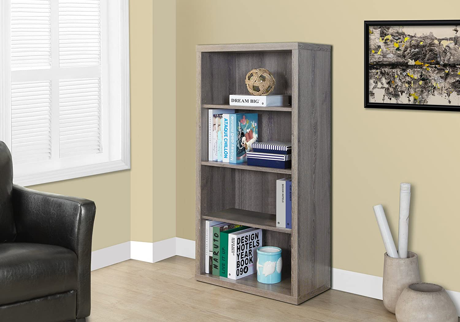 Monarch Specialties Dark Taupe Reclaimed-Look Bookcase Adjustable Shelves, 48-Inch