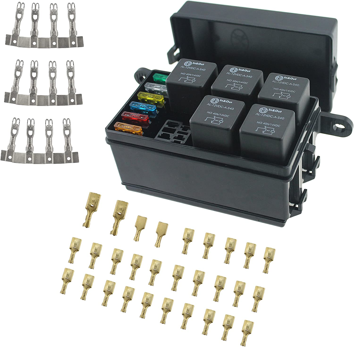 Amazon.com: Iztor Universal 6 Way Blade Fuse Holder Box With Spade  Terminals and fuse,5PCS 4Pin 12V 40A relays for car truck trailer and boat:  AutomotiveAmazon.com