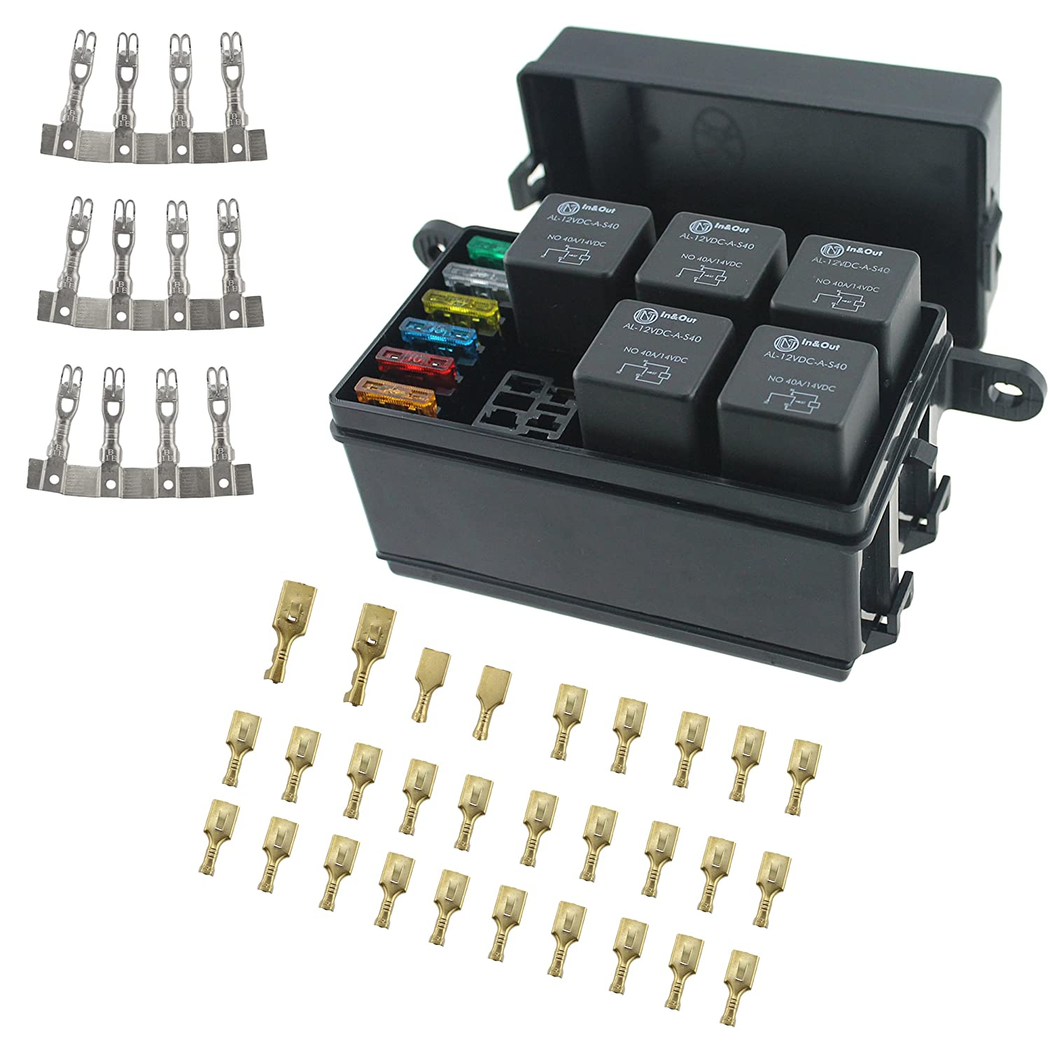 6 Way Blade Fuse Holder Box, 12-Slot Relay Box with Spade Terminals and Fuses, 6PCS 4Pin 12V 40A Relays for car Truck Trailer and Boat iztor