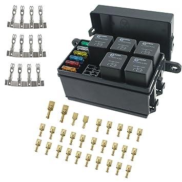 818H73v5OkL._SY355_ iztor universal 6 way blade fuse holder box with spade terminals and