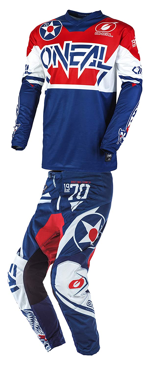 ONeal Youth Element Warhawk Motocross Jersey /& Pants Combo Blue//Red
