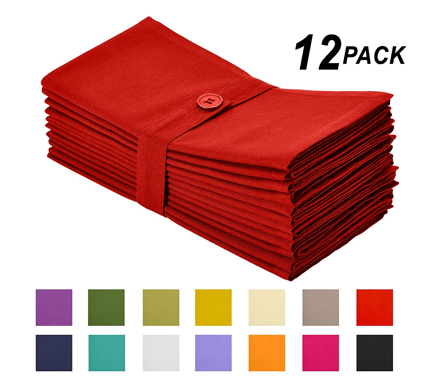 Christmas Tablescape Décor - Tomato red oversized cotton dinner napkins - Set of 12