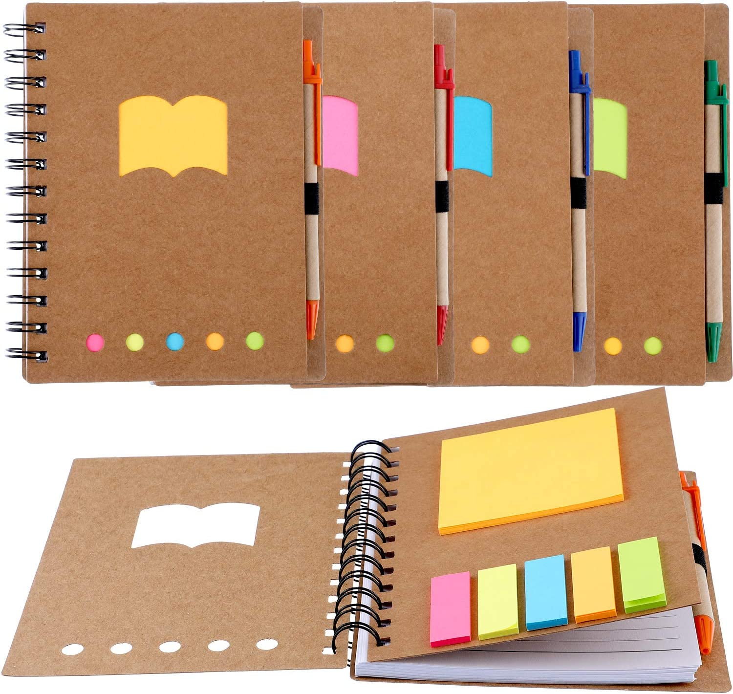 Gejoy 4 Pieces Spiral Notebook Steno Business Notepad with Pen in Holder and Sticky Notes Index Tabs Page Markers for School Office, 17.8 by 13.5 cm, 280 Sheets Totally, Kraft Cover