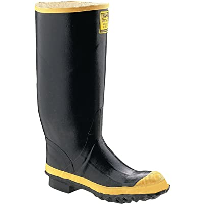 """Ranger 16"""" Heavy-Duty Men's Rubber Work Boots with Steel Toe and Steel Midsole, Black & Yellow (2144): Home Improvement"""
