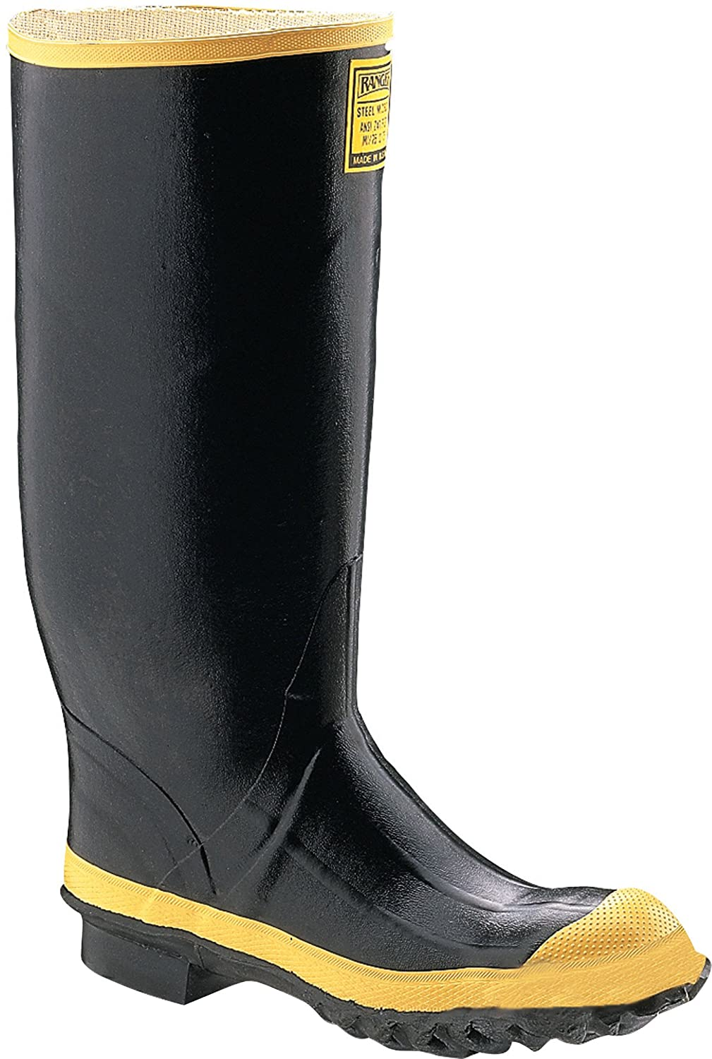 "Ranger 16"" Heavy-Duty Men's Rubber Work Boots with Steel Toe and Steel Midsole, Black & Yellow (2144)"