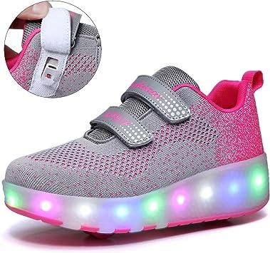 COMFASH Niños Niña Zapatos con Ruedas Led Luces Automática Calzado de Skateboarding Deportes de Exterior Patines en Línea Brillante Aire Libre Gimnasia Running Zapatillas: Amazon.es: Deportes y aire libre