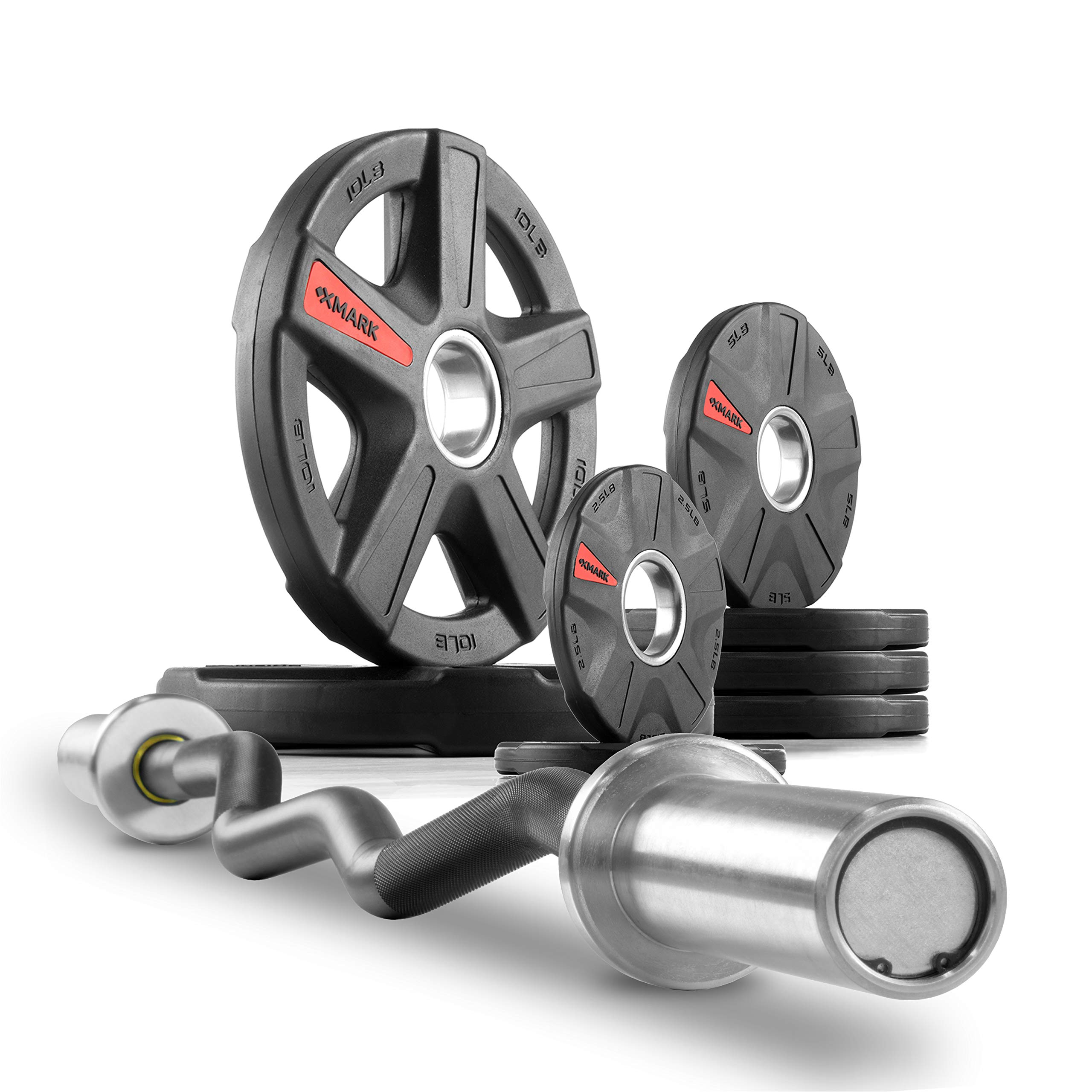XMark Commercial Hard Chrome Olympic EZ Curl Bar Brass Bushings with Texas Star 45 lb. Olympic Plate Weight Set, Great for Bicep Curl and Triceps Extension, Can Be Used with Preacher Curl Bench