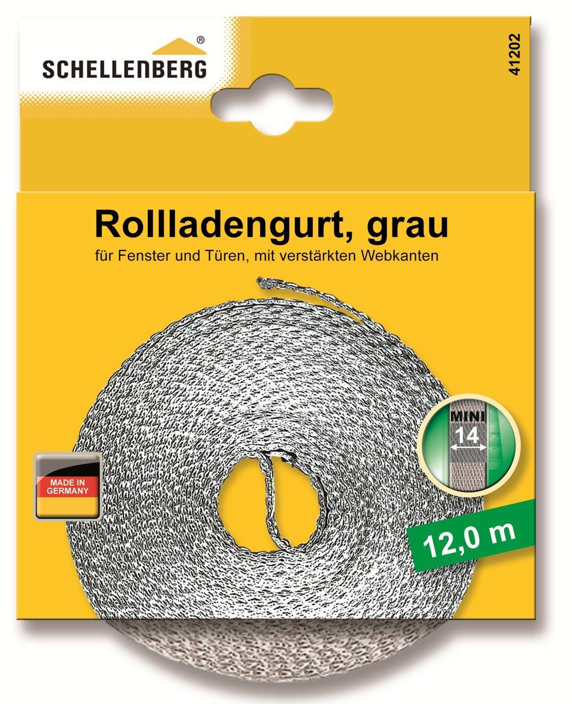 Schellenberg 41202 - Correa de persiana (14 mm, 12 m), color gris