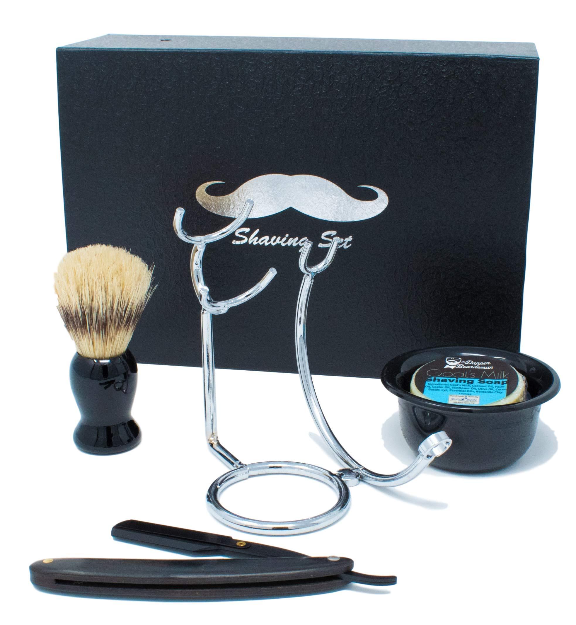 Vintage Style Straight Razor Shaving Set w/Shaving Soap by The Dapper Beardsman