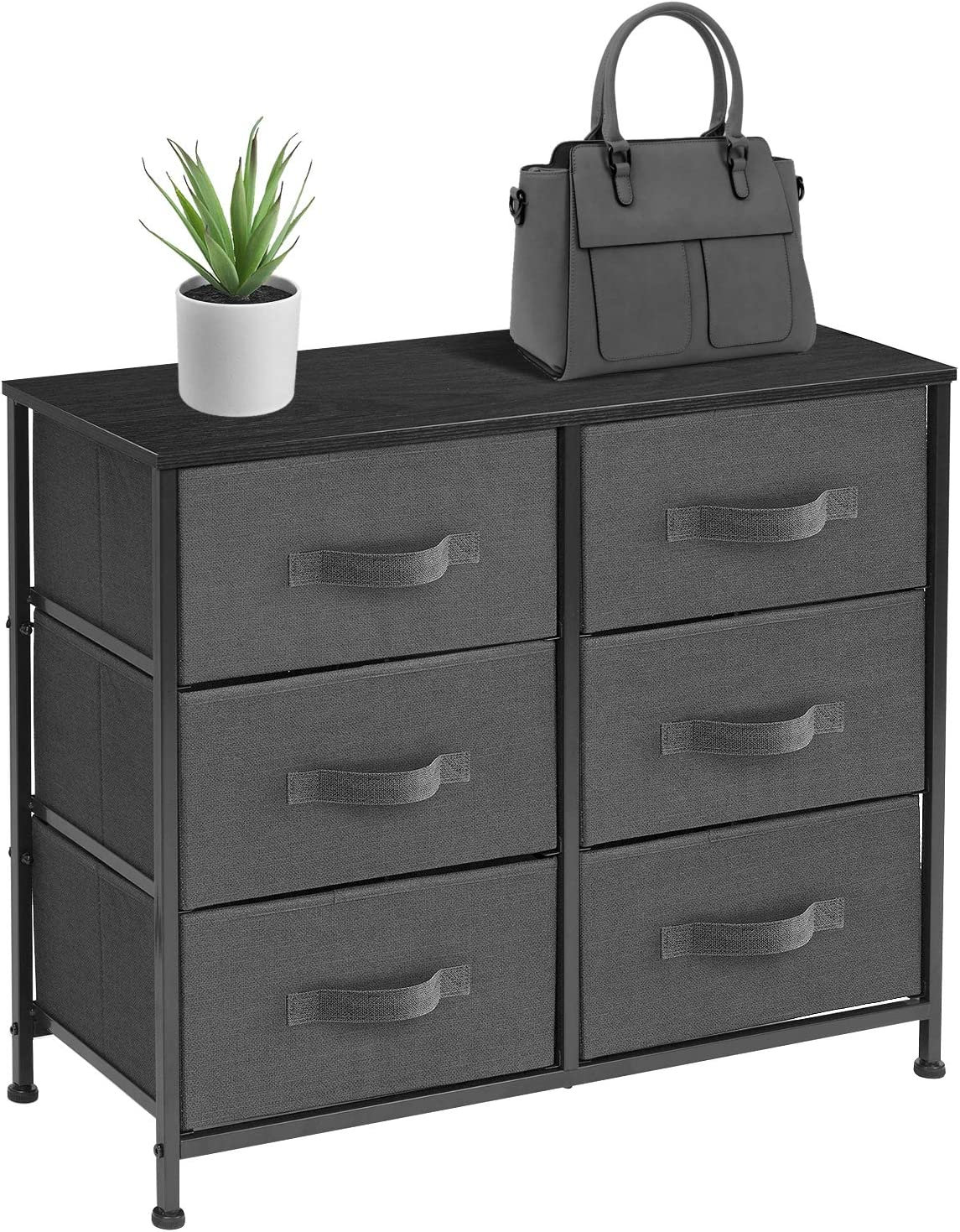 Sorbus Dresser with 6 Drawers - Furniture Storage Tower Unit for Bedroom, Hallway, Closet, Office Organization - Steel Frame, Wood Top, Easy Pull Fabric Bins (6 Drawer - Black)