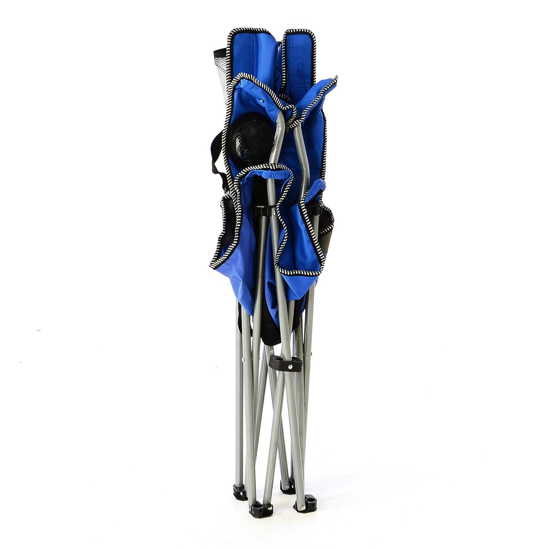Nexos 2er Set Campingstuhl Faltstuhl blau grau mit Armlehne Getr/änkehalter Angelstuhl bis 150 kg Tragetasche Polyester Stahlrohr Accessoires-Netz stabil wasserabweisend 90x47x47 cm
