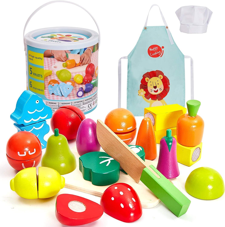 HERSITY Juguetes de Corte de Madera Frutas y Verduras Juego de Alimentos con Delantal y Gorro de Cocinero para Niños Niñas