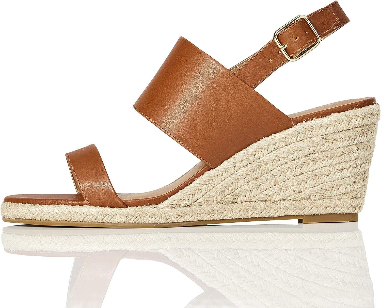 Marca Amazon - find. Wedge Leather Espadrille - Sandalias con punta abierta Mujer