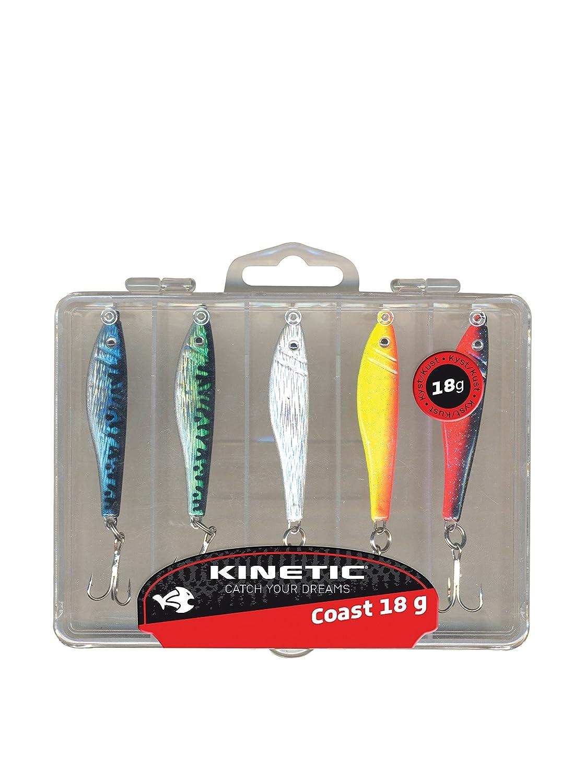 Kinetic 5er Multipack Sildeglimt, inklusive Köderbox und 5 verschiedenfarbigen, fängigen, leichten Pilkern, verfügbar in 4 Gewichtklassen