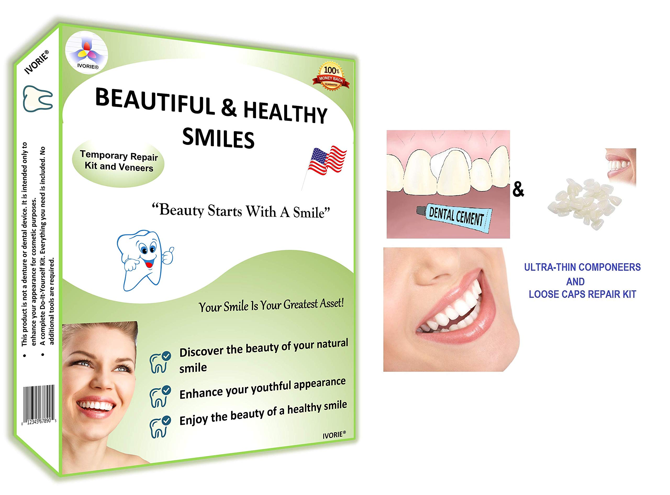 Dental Cosmetic Ultra-Thin Veneers and Dental Repair Loose Caps Home Use