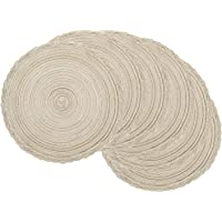 U'Artlines Indoor & Outdoor Round Woven Placemat, Set of 6 Perfect for Fall, Dinner Parties, BBQs, Christmas Parties and Everyday Use (15 Inch, Ivory White)