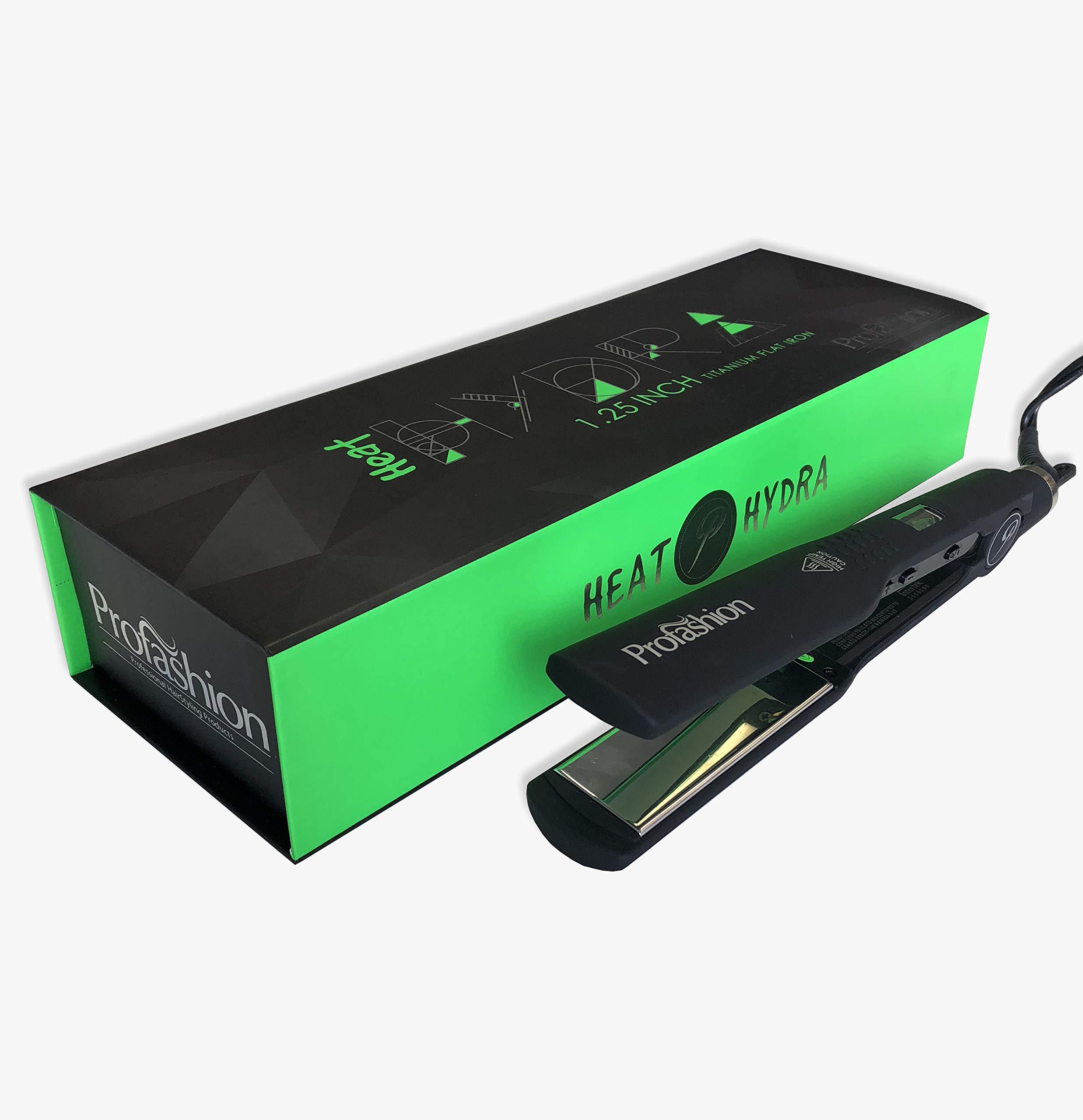Profashion Hydra Flat Iron- Curling Hair Straightener, Titanium 1.5'', Best Steam Ceramic Heater, Adjustable, Dual Voltage, 450 Degrees by Profashion