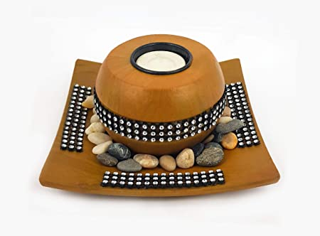 GOYAL� Elegant Round Bowl with a Tray TeaLight Holder, Candle Holder - for Diwali/dussherra/ Festive Season- 2 hrs Burning