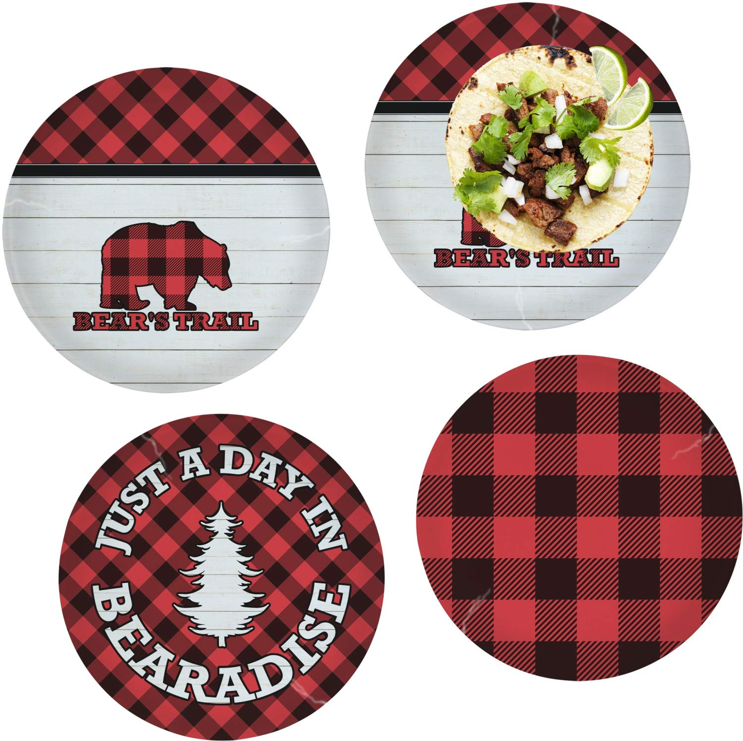 Lumberjack Plaid Set of 4 Glass Lunch/Dinner Plate 10'' (Personalized)