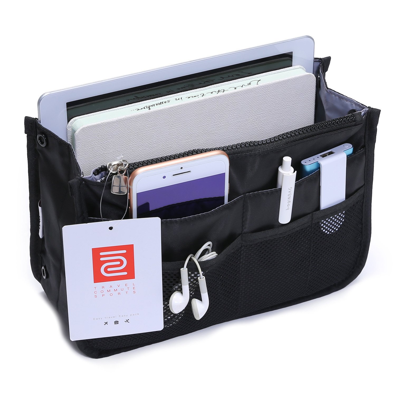 IN Multi-Pocket Travel Handbag Organizer Insert for Tote Bag Purse Liner Nylon (Large Black)