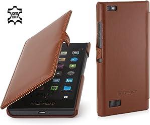 StilGut Book Type avec Clip, Housse en Cuir pour Blackberry Leap, en Cognac