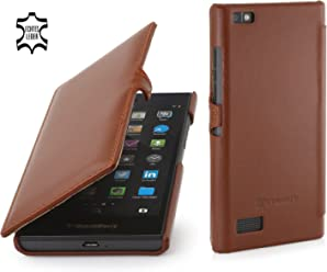 StilGut Book Type Case con Clip, Custodia in Vera Pelle per Blackberry Leap, Cognac