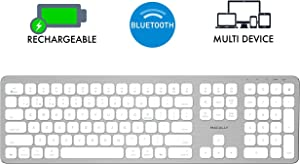 Macally Bluetooth Wireless Keyboard for Mac, iMac, Apple Mac Pro, Mac Mini, MacBook Pro/Air Laptop - Rechargeable Slim Full-Size Mac Wireless Keyboard (BTWKEYMB)